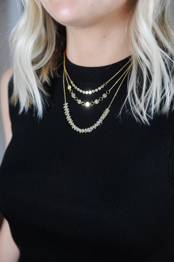 Triple Chain Dainty Gold Necklace