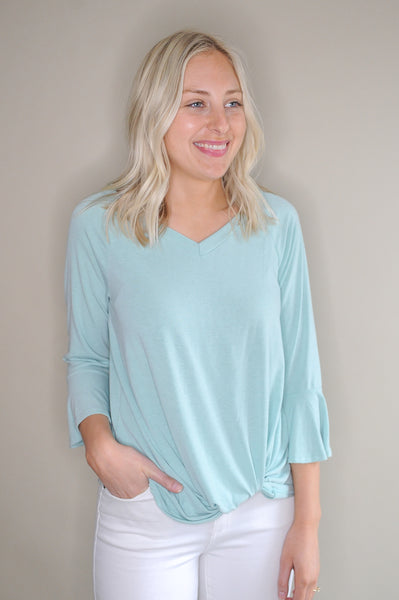 Ashlynn Mint Knit Top with Bell Sleeve