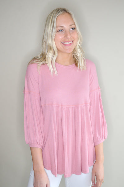 Kaley 3/4 Sleeve Babydoll Top