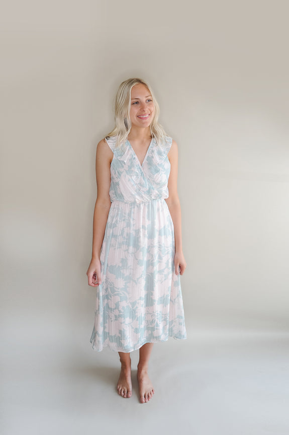Ariella Midi Floral Dress with Ruffle Neckline