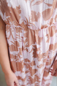 Pink & Mocha Floral Maxi with Shimmer detail
