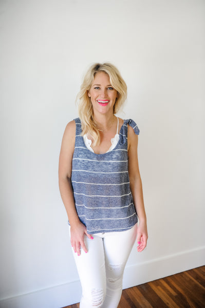 Bailey Stripe Knit Tank with front Tie