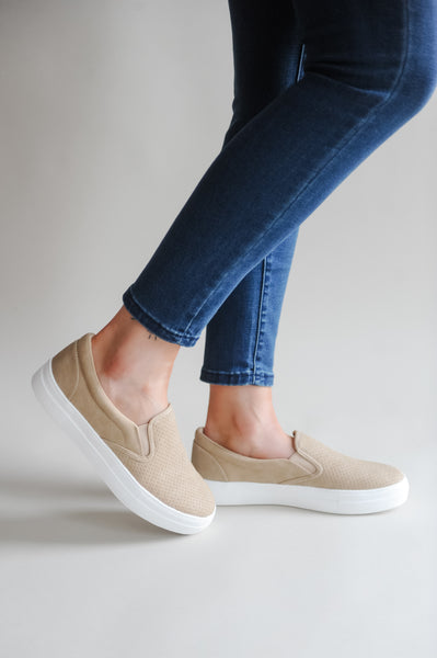Sabrina Tan Perforated Slip-on Sneaker