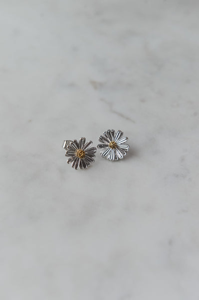 Silver Metal Daisy Studs