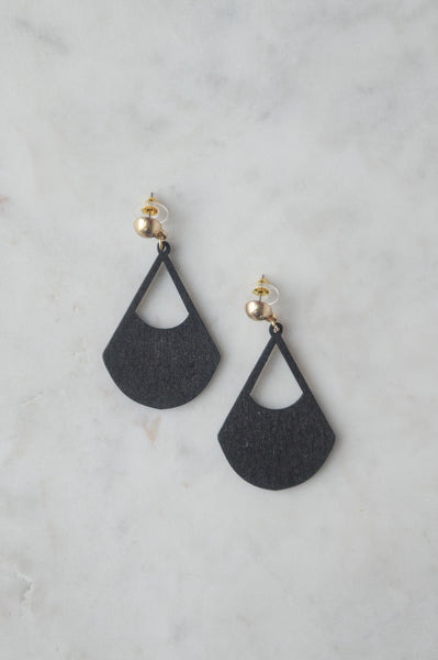 Black Wood Drop Earrings with Post Back