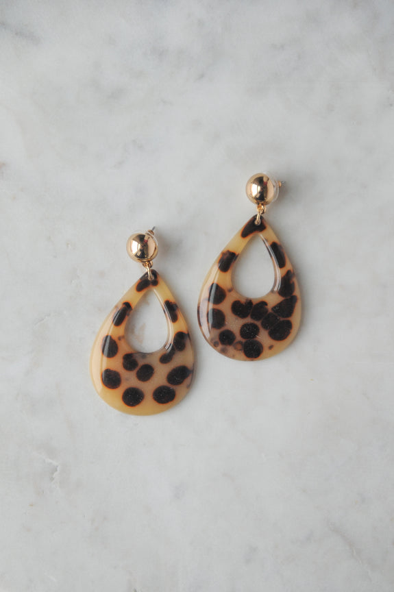 Cheetah Resin Drop Earrings