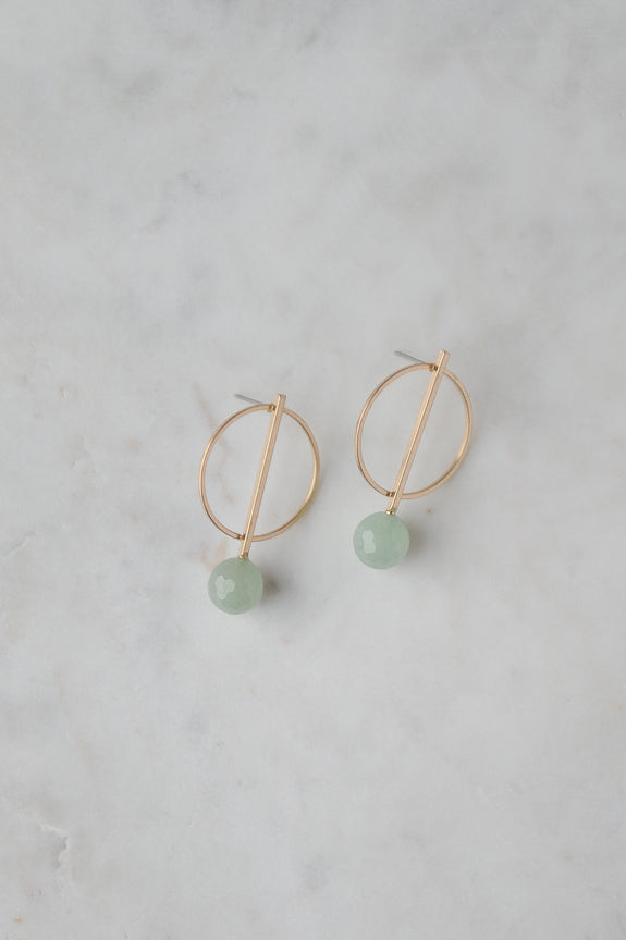 Gold + Jade Geometric Post Earring