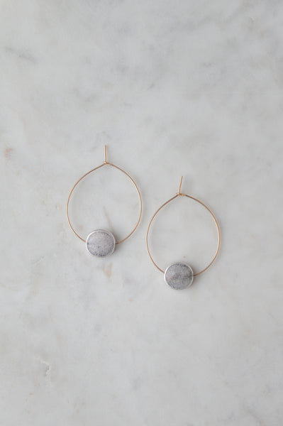 Brushed Gold Hoop With Silver Disk Earring