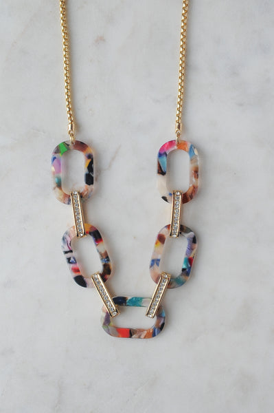 Acrylic Chain Necklace Multicolored