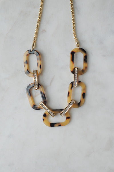 Acrylic Chain Necklace Tortoise