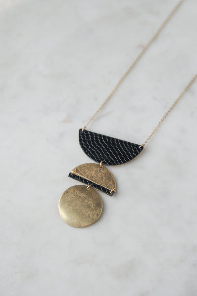 Brushed Gold + Faux Leather Pendant Necklace