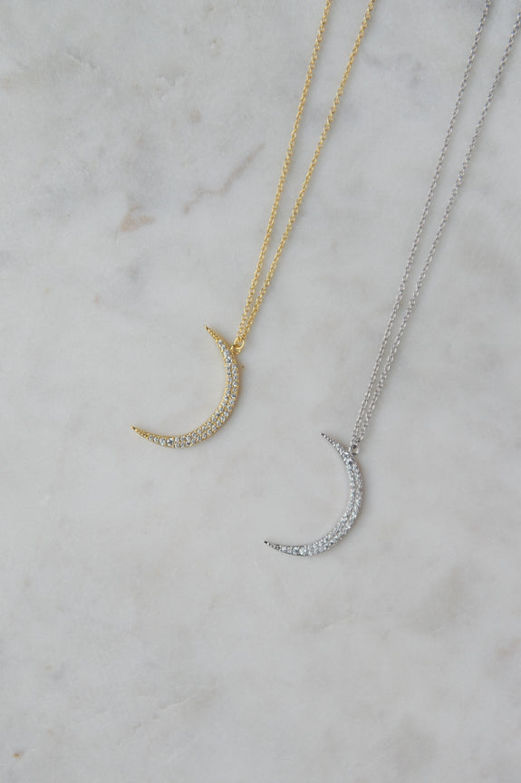 Lrg Sparkle Moon Necklace