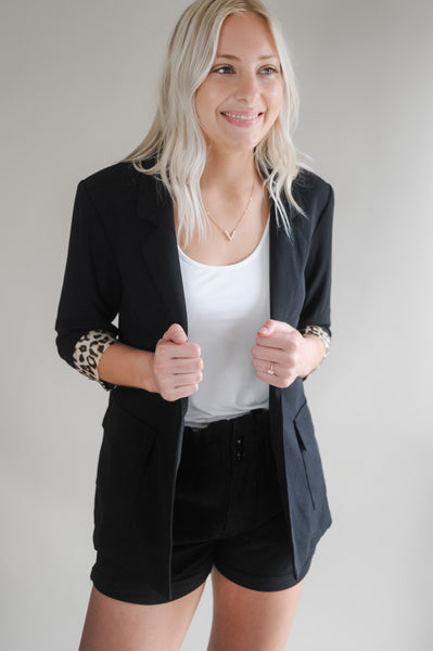 Sira Blazer with Leopard Sleeve Accent