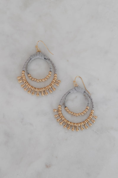Suede & Gold Bead Double Cirle Earrings