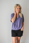 Cupro V-neck Front Twist Short Sleeve Tunic