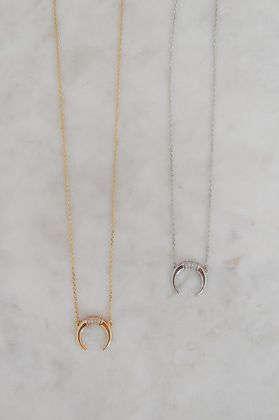 Dainty CZ Crescent Necklace