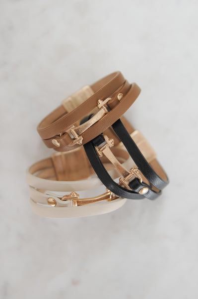 Leather & Gold Bit Bracelet