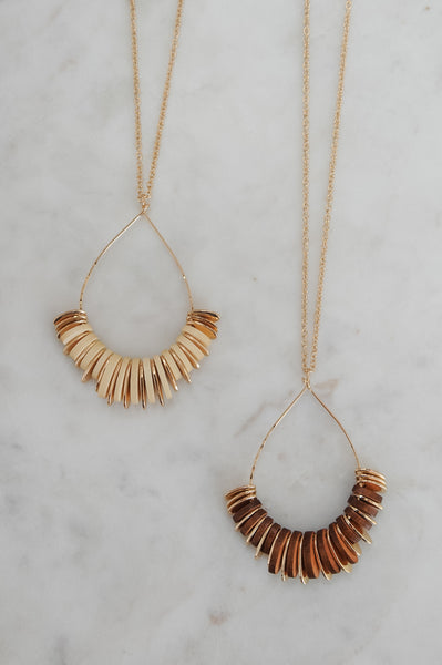 Gold Metal & Wood Pendant Necklace