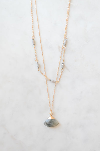 Double Layer Gold Necklace with Grey Stone