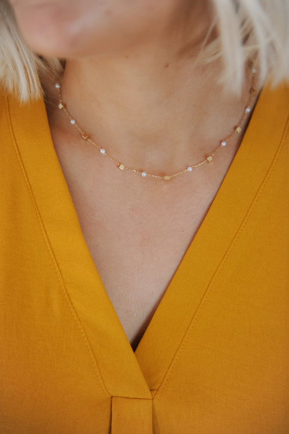 Pearl & Cube Dainty Necklace