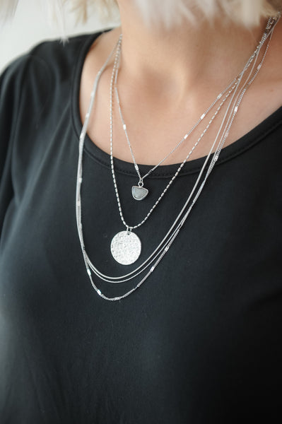 Multi Layer Silver Charm Necklace