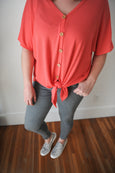 Tila Button Up Front Tie Top
