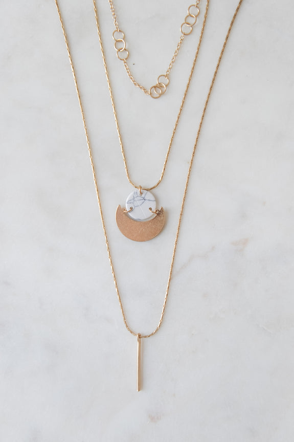 3 Layer Gold Charm Necklace