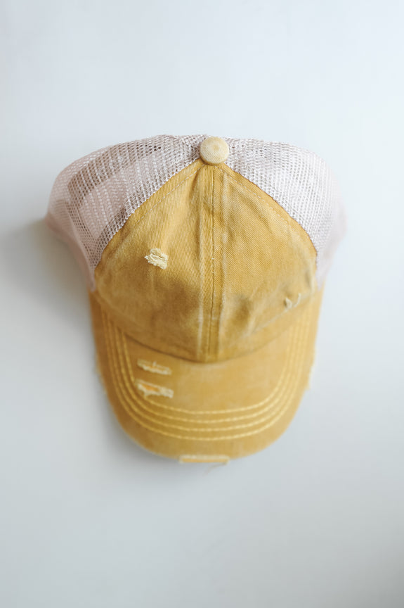 CC Distressed Criss Cross Pony Cap with Mesh Back