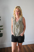 Cheetah Ruffle Sleeveless Blouse