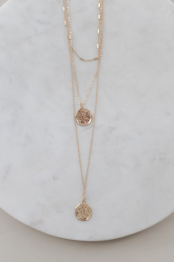 Three Layer Coin Charm Necklace