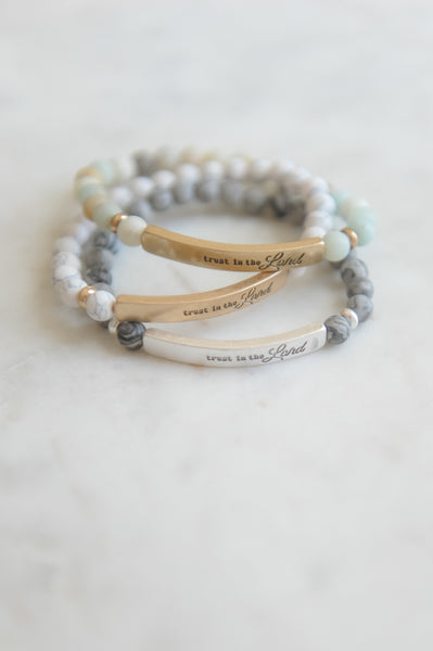 Trust in the Lord Bar Bead Stretch Bracelet