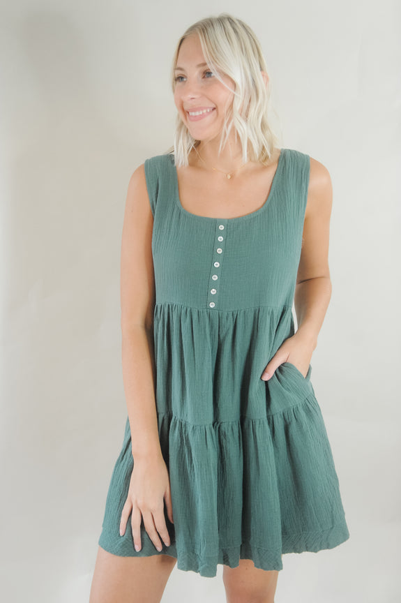 Tiered Button Front Tank Dress