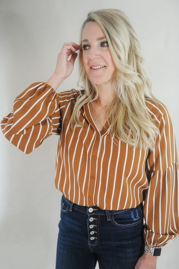 Carmen Stripe Button Balloon Sleeve Blouse
