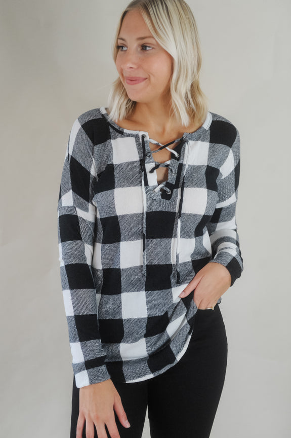 Buffalo Check Lace-Up Front Top