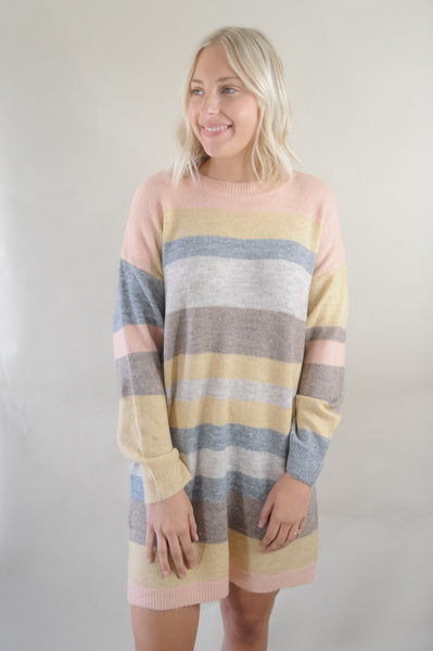 Melange Pastel Multi Stripe Sweater Dress