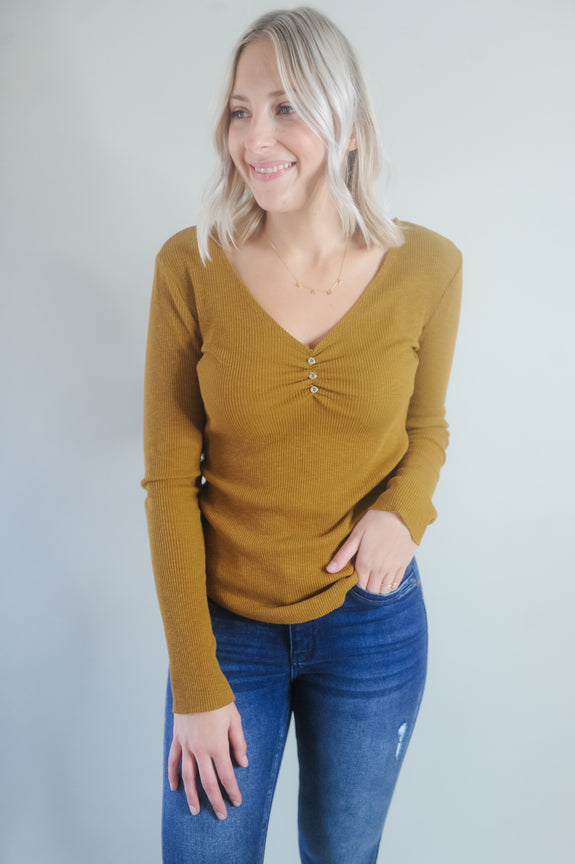 Sarah Button Detail Ribbed Long Sleeve