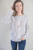 Twisted Cable Knit Round Neck Grey Sweater