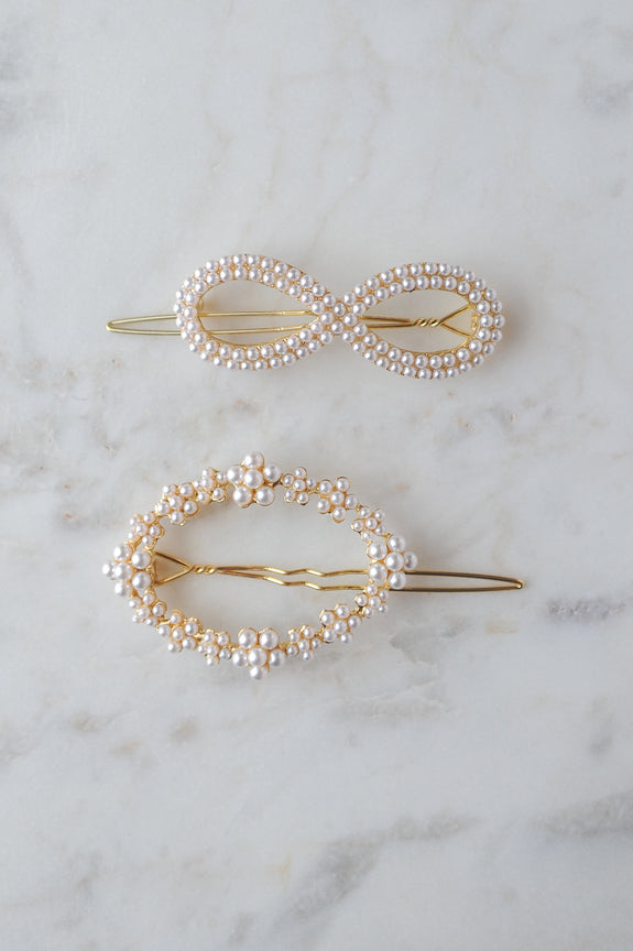 Infinity Sign and Oval Pearl hair pin set