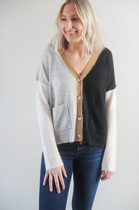 Fran Color Block Cardigan with Button Detail