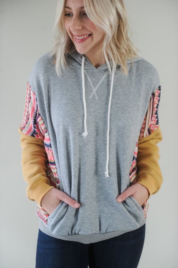 Mari Aztec Print Color block Fleece Hoodie