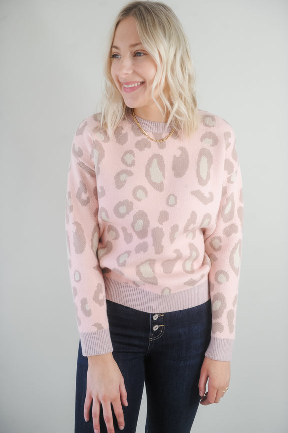Leopard Lucy Pink Sweater