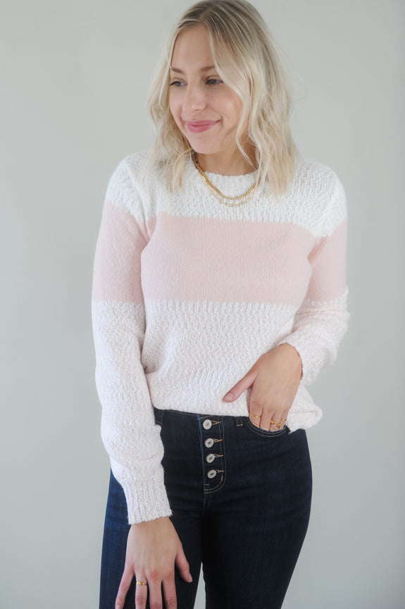 Sweet Pink Color Block Cozy Sweater