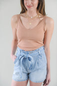 High Waist Paper Bag Denim Shorts
