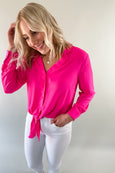 Dollie Hot Pink Button Front Blouse