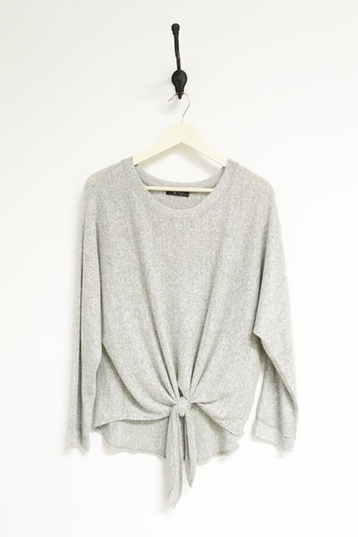 Mona Grey Brushed Long Sleeve w/ Front Tie