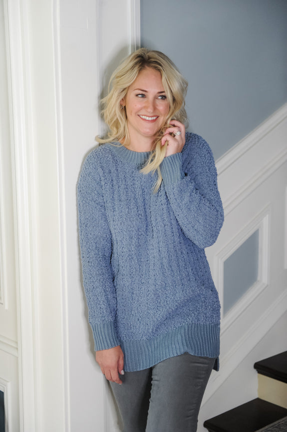 Mara round Neck Popcorn Sweater