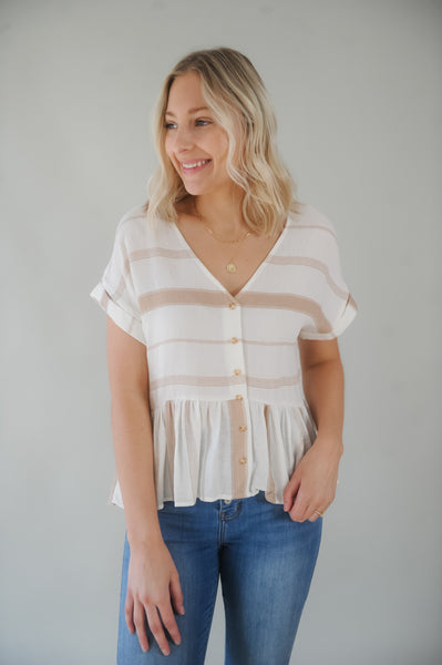 Fly Away Striped Button Down Top