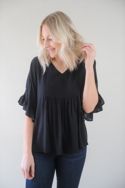 Frankie Flowy V Neck Black Blouse