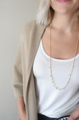 Long Gold Dot Necklace