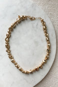 Gold Chunky Bead Stone Necklace